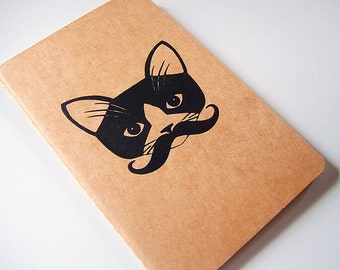 Mustache Kitty Moleskine Cahier/Journal/Notebook - Lined Paper