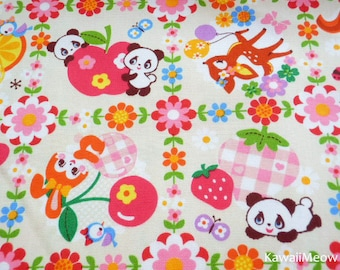 Kawaii Japanese Fabric - Pandas Animals Fruit on Cream - Fat Quarter - (ha141107)