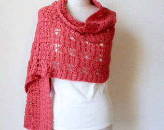 Baby Alpaca Pineapple Shawl Scarf - Orange Red  -