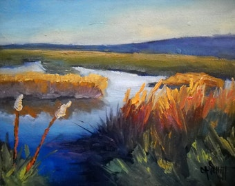 "Marsh Painting, Daily Painting, Small Oil Painting, ""North Florida Marsh"" by Carol Schiff, 8x10 landscape"