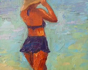 Figurative Canvas Print, Oil Painting Giclee Print, Woman in Swim Suit, Free Shipping, choose your size, ready to hang, no frame required
