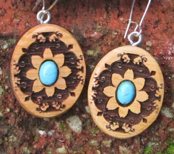 Flower Mandala Wood Earrings-  In Juniper Wood with Turquoise (042- Wooden Jewelry, Boho Jewelry