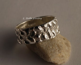 8mm Sterling Band Textured Peddle Beach Leather pattern Wedding Ring Men's Women's