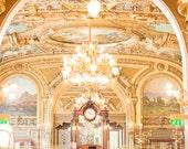 Paris Photography, Le Train Blue, Train Station Restaurant in Paris, Gold, France, Paris Gallery Wall Art, chandelier, french, Parisian