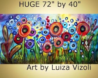 "on SALE Art 72"" Painting Abstract Original Fantasy Huge Acrylic Landscape Poppy Flowers SUMMER RAIN"