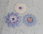 Romantic Flowers in Muted Pinks and Purples...Set of 3