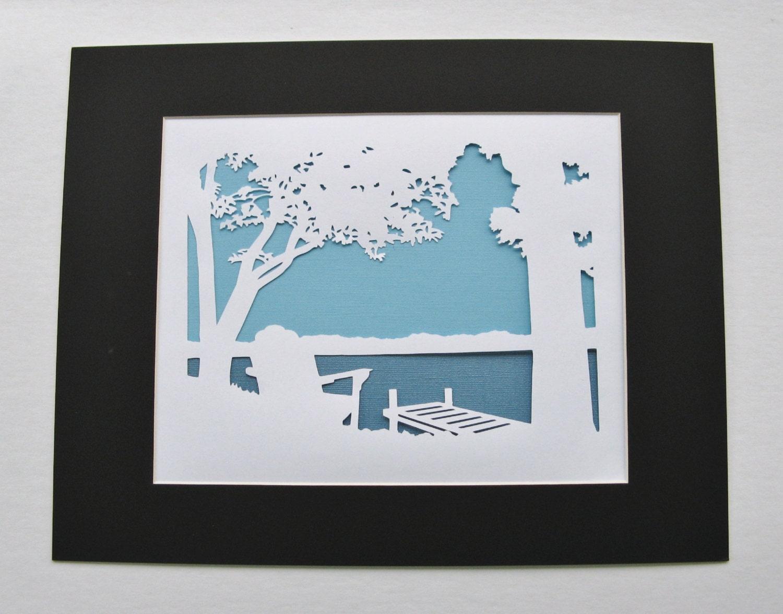 adirondack chair dock lake trees silhouette wall art paper cut