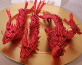 Origami Dragon- Chinese New Year Dragon-Red Dragon- 180 Plus Double Folded Pieces Desk Accessory Limited Edition Asian Dragon