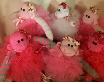 Handmade Sock Monkey, Ballerina and Cupcake Teeny Sock Monkey with Crocheted Cupcake, Recycled Baby Socks, Doll Toy
