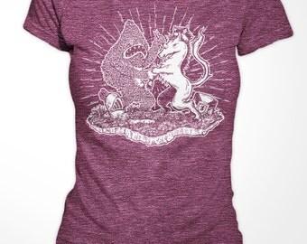 Womens T-shirt - Yeti vs Unicorn - American Apparel - Heather Plum