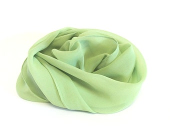 Green Silk Scarf - Pale Forest Green Chiffon Silk - Great Gift - Low Shipping Costs Felting Supplies