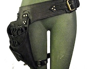 stylist, shears holster belt with leg strap, quality, black leather: Renegade Icon Designs