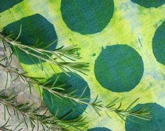 Green Linen Dish Towel, Hemp Fabric, Abstract Dots