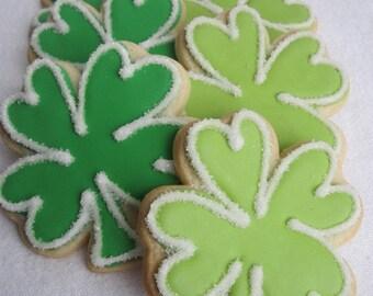 FOUR LEAF CLOVER Sugar Cookies, Shamrock Sugar Cookies, 1 Dozen