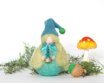 Felted Waldorf Gnome Toy, Needle Felted Holiday Doll, Felt Waldorf Elf Miniature, Enchanting Woodland Home Decor