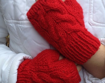 Texting Cabled Fingerless Mittens in Red - Ready To Ship - Great present for 25.00 and under