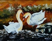 Original Modern Contemporary Acrylic Impasto painting of 2 Mute Swans by Nkolika Anyabolu. Framed and Ready to hang