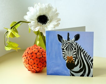 "5.7"" X 5.7""  Zebra Greeting Card by Nkolika Anyabolu.Blank on the inside. Perfect for adding a personal touch. Can be used for any occasion."