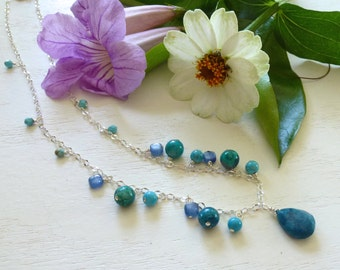 Sale - Turquoise Chrysocolla and Kyanite Necklace - Blue and Green Necklace - Stone Necklace - Sterling Chain - Dangle Necklace