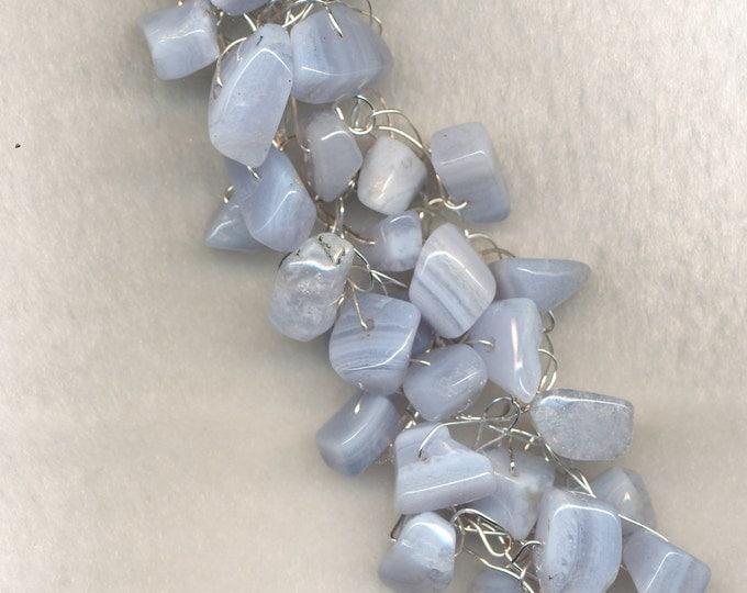 Blue Lace Agate - Wire Crocheted Bracelet - Light Blue Bracelet - Adjustable Bracelet - Braided Bracelet - Agate Bracelet