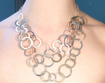 SALE --- Vintage Italian Hoops In Hoops Sterling Cascades Necklace