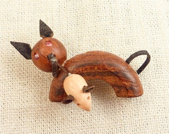 SALE ==== Vintage Wood and Leather Red Rhinestone Eye Cat and Mouse Pin