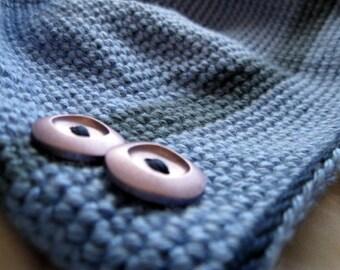 Crochet Hat, Blue Button Tube