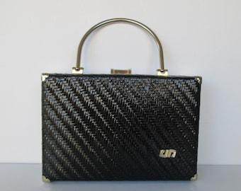 Pier Giorgio Boxy Black Wicker Handbag