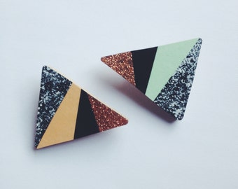 Triangle Brooch - copper glitter - 2 colours available