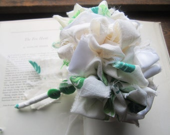 Vintage Fabric Flower Bouquet * Bridesmaid Bouquet * Flour Sack Material * Wedding Bouquet 1940's 50's