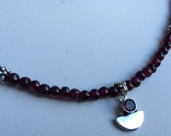 Necklace - Sterling Silver and Garnet Charm, Garnet and Pewter Accents