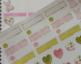 Planner Stickers Bunnies and Hearts Fits  Erin Condren Planner & Other Planners