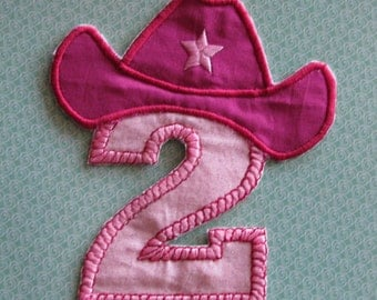 Applique number  two with cowboy hat