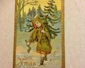 Christmas Fantasy Child Elf Green Tree Spirit with Golden Axe Antique Embossed Postcard c.1900