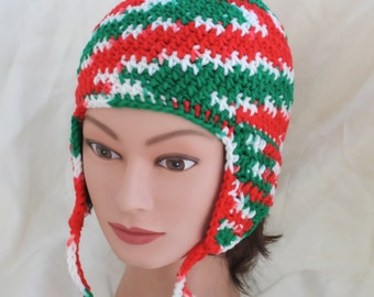 Christmas Ear Flap Hat Red Green and White Crocheted Cap for Women