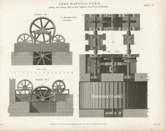1812 Rare Antique Copper-engraved Plate of Rolling and Slitting Mill in Rotherham