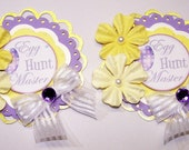 Happy Easter, Egg Hunt, Yellow, Card Topper, Paper Piecing, Favor Tag, Gift Tag,,Scrapbooking, Card Making, Easter Egg, Purple, Daisy