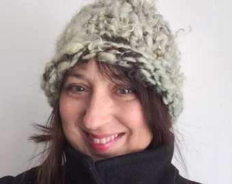 Warm Winter Hat Handspun Ski Cap Handknit Snow Cloche Light Green and Bronze OOAK