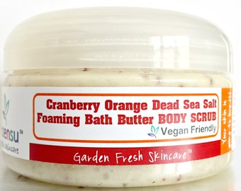 Cranberry Orange Dead Sea Salt Foaming Bath Butter Moisturizing Body Scrub | One Step Body Polish | No Parabens , Phthalates | Vegan - 8 oz