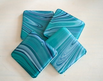 Tropical Waters Fused Glass Coasters