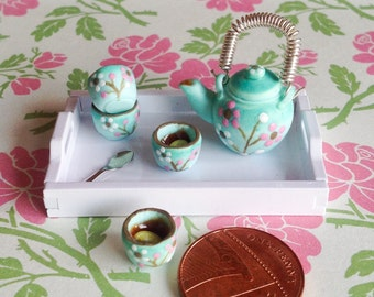 Mint Japanese Tea Set Scale Miniature