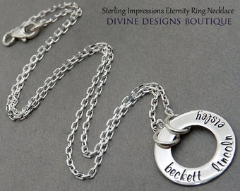 Personalized Family Necklace - Hand Stamped Jewelry - Sterling Impressions Personalized Eternity Circle Family Necklace