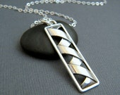 NEW long silver rectangle necklace. origami. sterling silver pendant. large geometric. modern unique simple layering jewelry gift for her