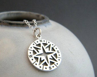 sterling silver compass necklace. small simple everyday jewelry. north pendant. directions. travel charm. gift for traveler. her women
