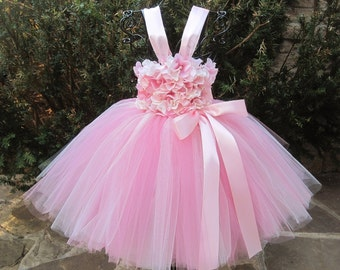 PINK IVORY FLOWERS - Pink Tutu Dress - Flower Girl Gown - First Birthday Dress - Baby Pageant Outfit - Baptism - Christening -  Baby Gifts