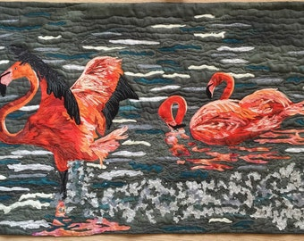Art quilt Flamingo wallhanging