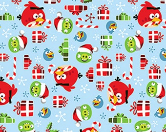 Angry Birds Holly Jolly Christmas in Light Blue - Half Yard Cotton Fabric