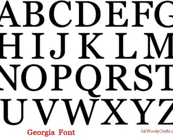 """8"""" Unfinished Wooden Letters, Georgia font, 1/2"""" thick, Ready to Paint, Made in USA 08GA50     -4"""