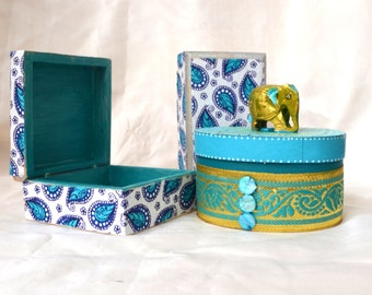 Paper Collaged Boxes. Decorative Boxes. Turquoise Blue. Seafoam.