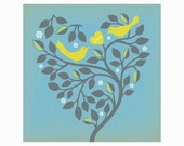 Lemon Birds In Love Art Print